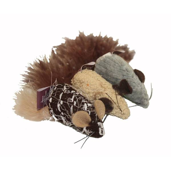 Yarn Mice with Feather Tail Cat Toy Assortment