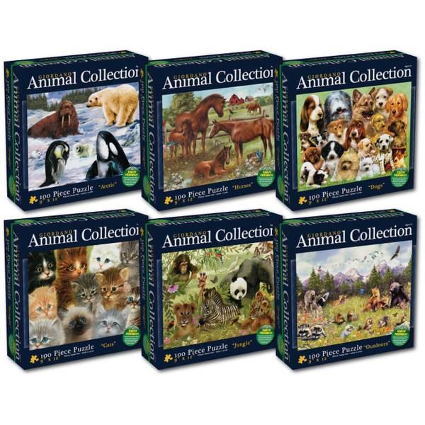 100-Piece Animal Collection by Greg Giordano Puzzle Assortment