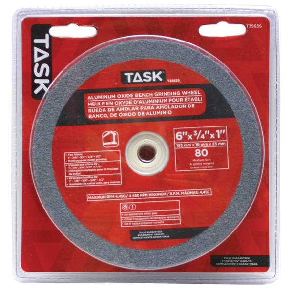 "6"" x 3/4"" Aluminum Oxide Grinding Wheel with 1"" arbour hole - 80 Grit"