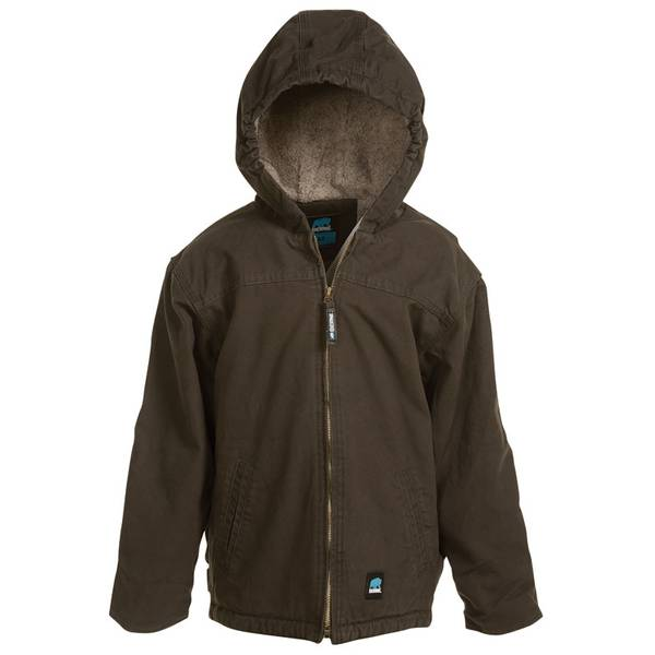 Kid's Sherpa Lined Brown Duck Jacket