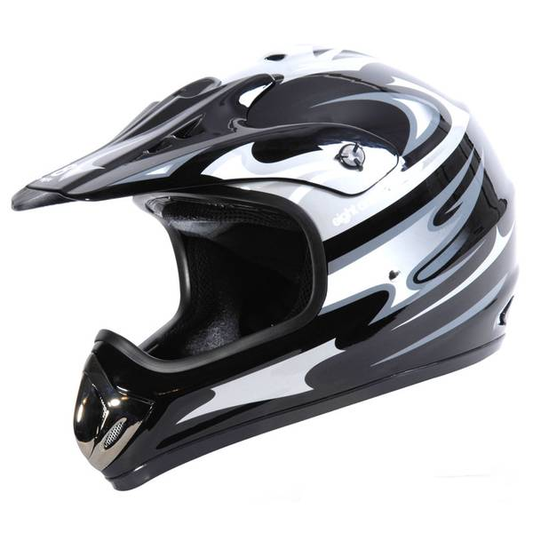 Adult Black & Silver Motocross Helmet