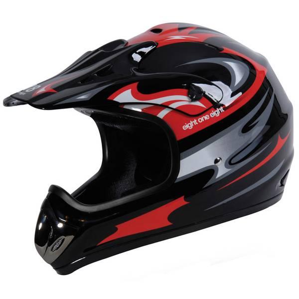 Adult Black & Red Motocross Helmet