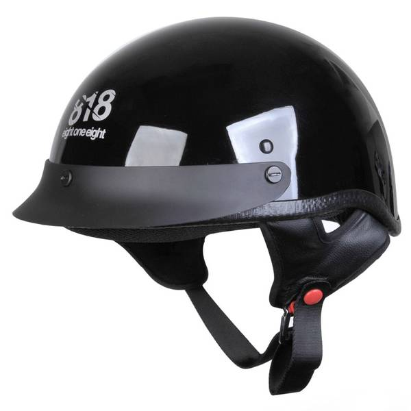 Adult Black 1/2 Shell Cruiser Motorcycle Helmet