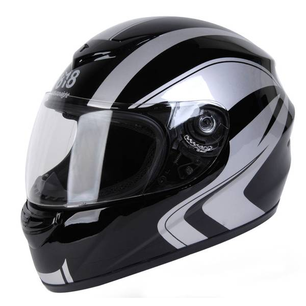 Adult Black & Silver Full Face Sport Street Motorcycle Helmet