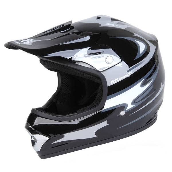 Youth Large Black & Silver Motocross Helmet