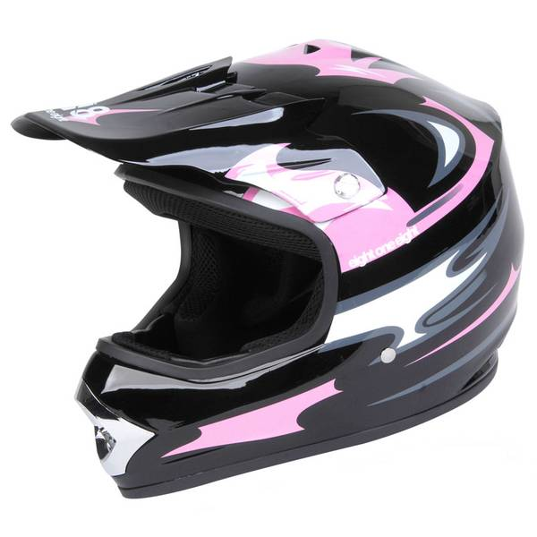 Youth Large Black & Pink Motocross Helmet