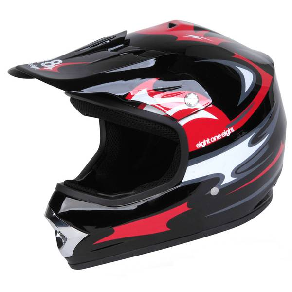 Youth Large Black & Red Motocross Helmet