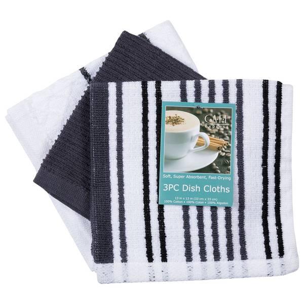 Charcoal Stripe 3-Piece Dishcloth Set