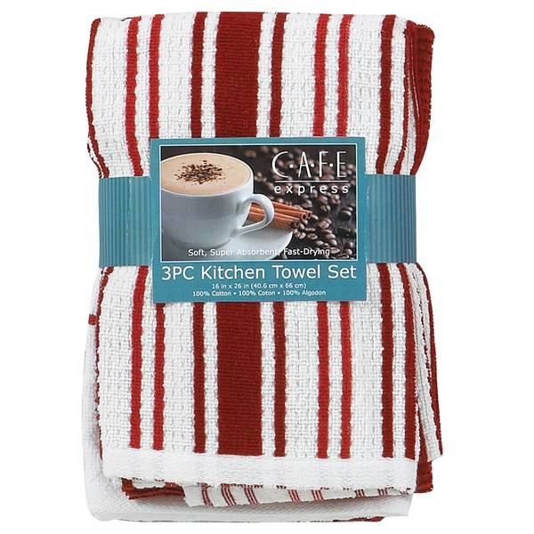 3 Piece Red Stripe Kitchen Towels