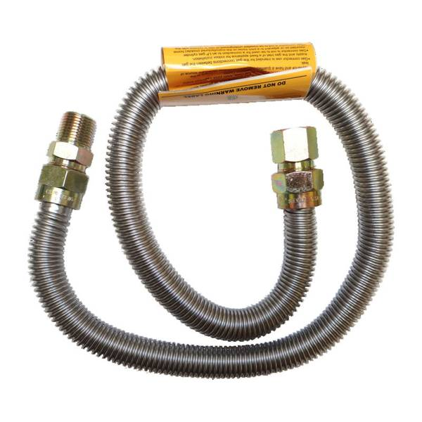 """5/8"""" OD 1/2"""" MIP x FIP 48"""" SS Gas Connector"""