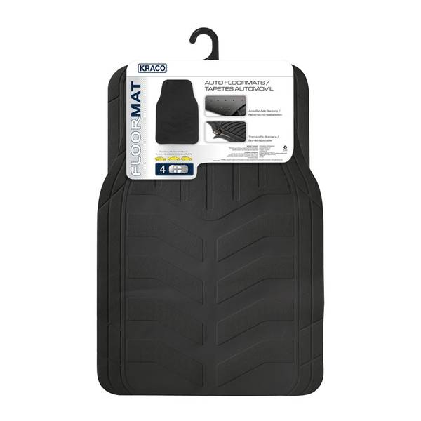 4-Piece Rubber Floor Mat Set with Nib Backing