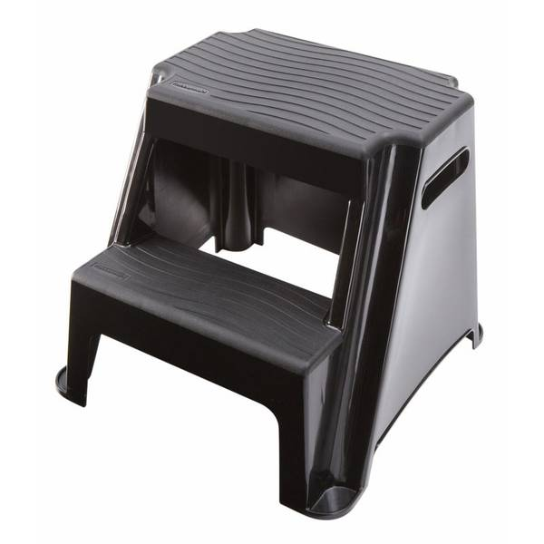 Black Two Step Plastic Step Stool