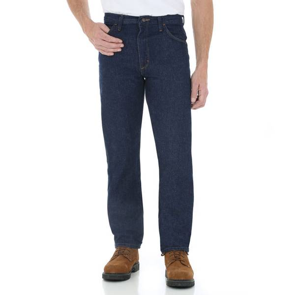 Rustler Wrangler Mens Regular Fit Straight Leg Dark Blue Heavyweight Denim Jeans