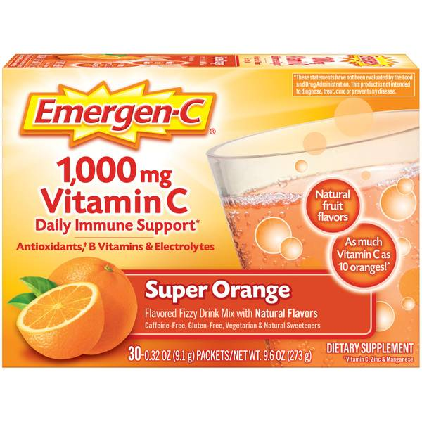 Vitamin C Dietary Supplement Flavored Fizzy Drink Mix