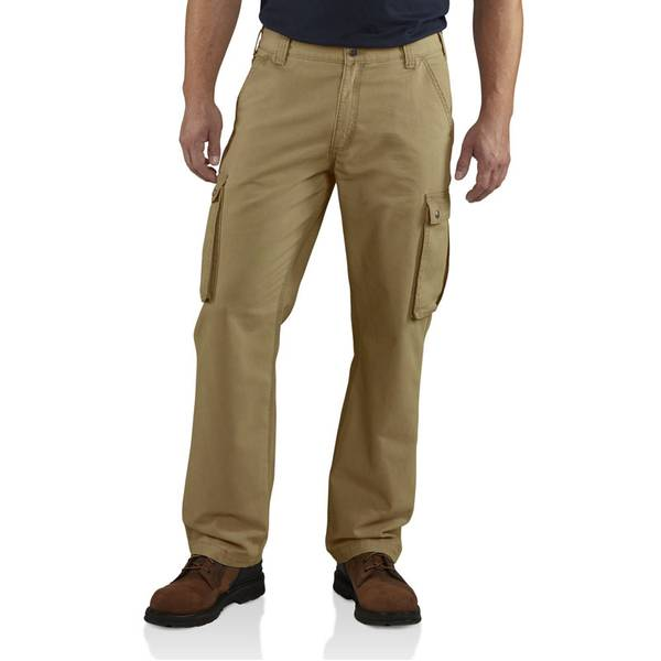 Men's Khaki Rugged Relaxed Fit Cargo Pants