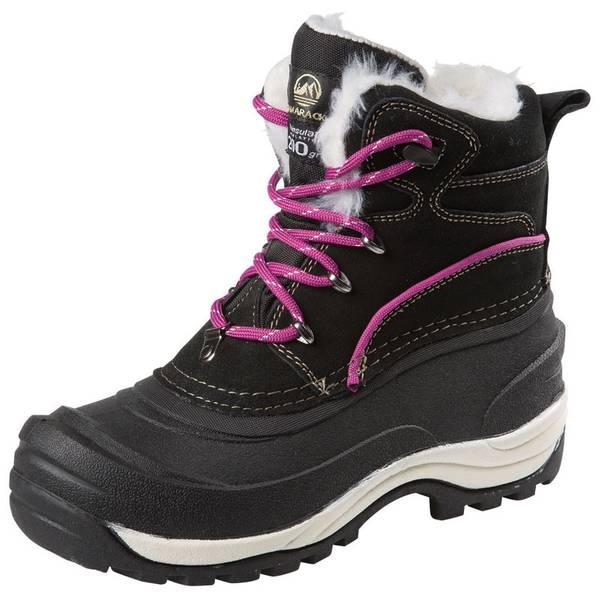 Women's Black Snow Drifter Pac Fur Cuff Winter Boots