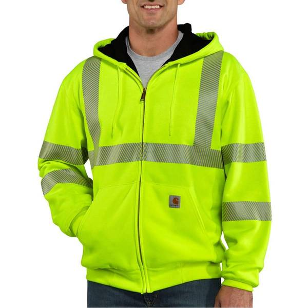 Men's Bright Green High Visibility Class 3 Thermal Zip-Up Hoodie
