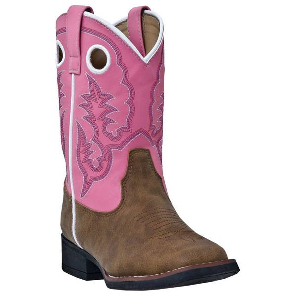 Girls' Pink &  Western Boots With Pullholes