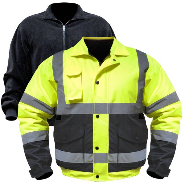 Men's Hi Vis Class 3 Bomber Jacket with Removable Fleece Jacket