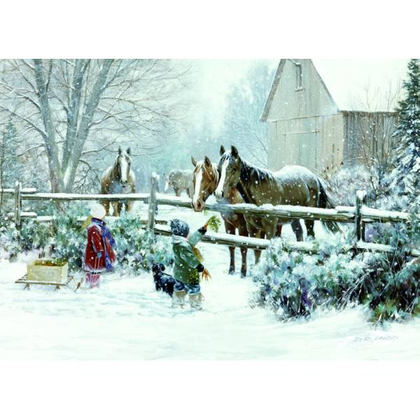 Feeding Horse Holiday Deluxe Cards