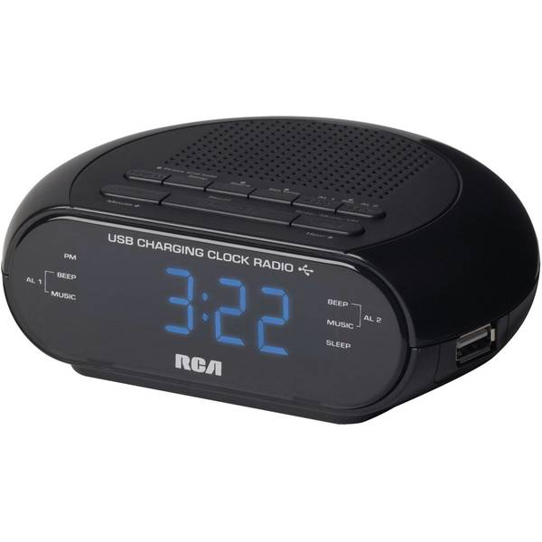 Dual Wake FM Clock Radio with USB Charging Port