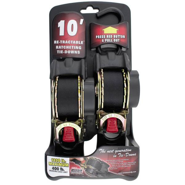 10' Retractable Ratchet Tie Down Straps