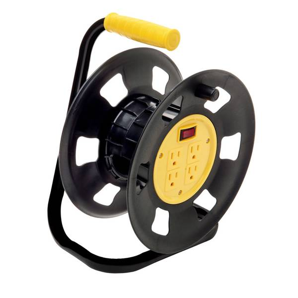 Retractable Extension Cord Storage Reel with Four - Outlet Power Tap