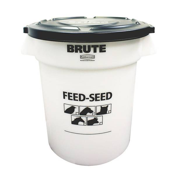 brute 20 gallon feed seed container with lid