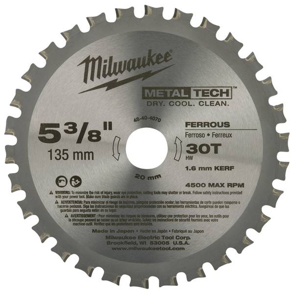 "5-3/8"" 30 Teeth Ferrous Metal Circular Saw Blade"