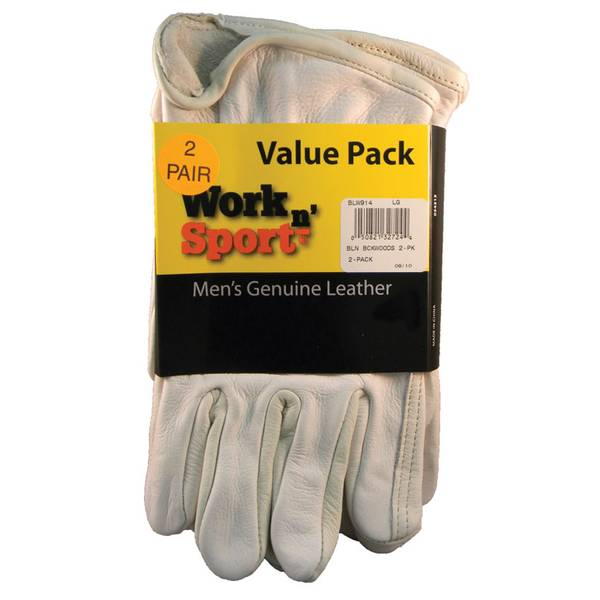 Men's 2-Pack Cowhide Leather Grain Work Glove