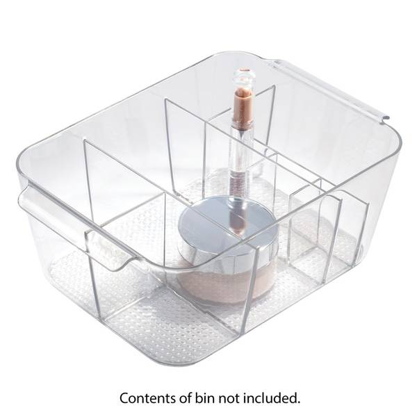Clear Divided Cosmetic Bin