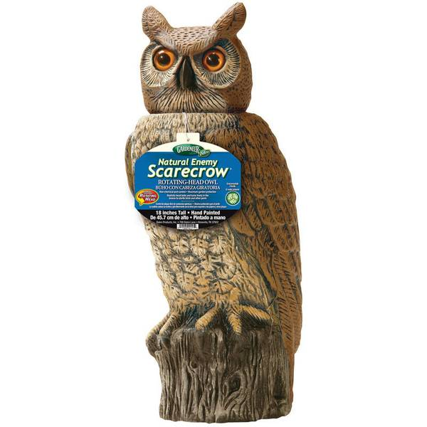 Natural Enemy Scarecrow Rotating Head Owl
