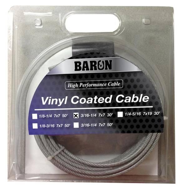 7 x 19 3/16 - 1/4 x 20 Galvanized Vinyl Coated Cable