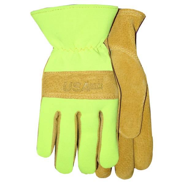 Men's Brown & Hi-Viz Yellow Premium Suede Cowhide Work Gloves