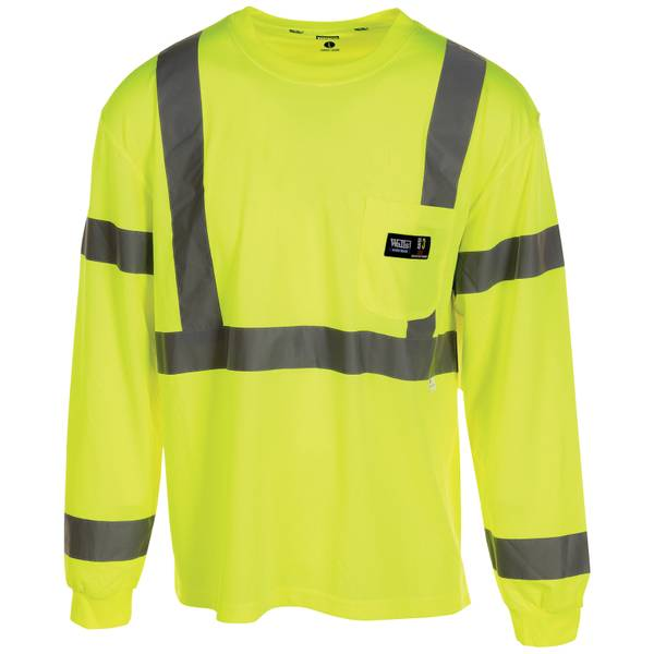 Men's Class III High Visibility Long Sleeve Pocket T-Shirt