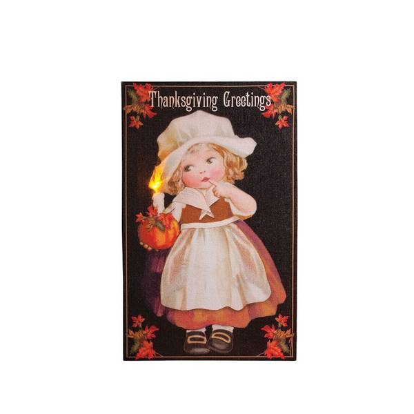 Thanksgiving Girl LED Canvas