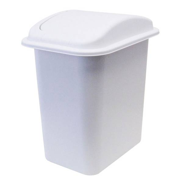 Swing Lid White Trash Can