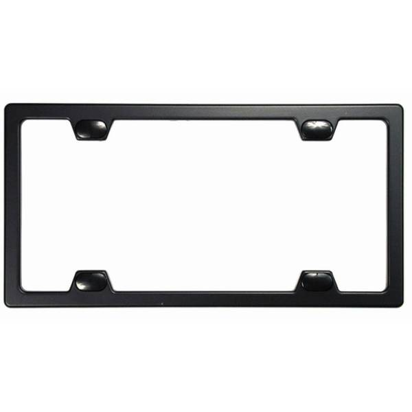 Elite Metal License Plate Frame with Caps Black