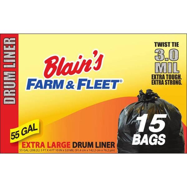 55 Gallon 3.0 mil Drum Liner with Twist Ties