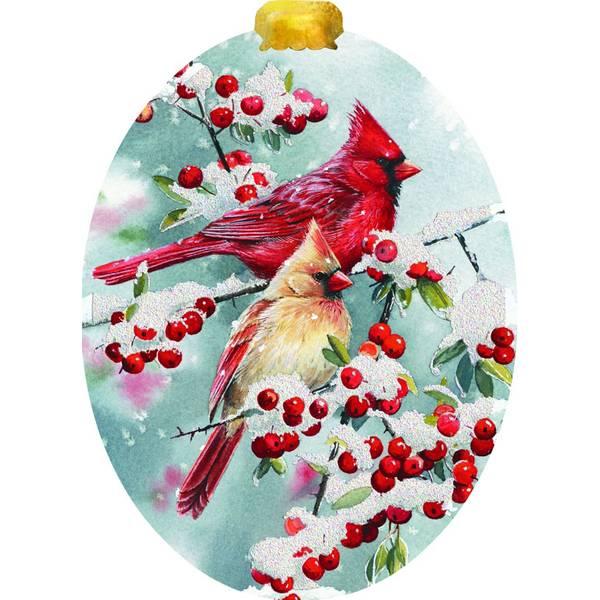 Cardinals Berries Ornament Cards & Envelopes