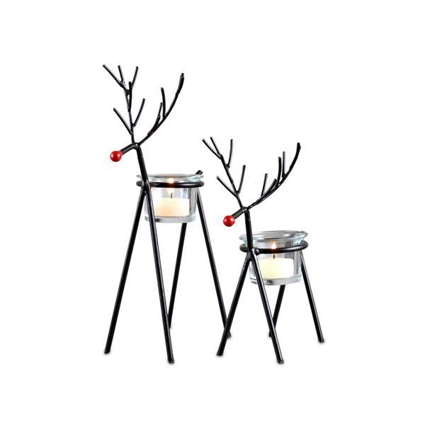 2-piece Holiday Reindeer Tea Light Set