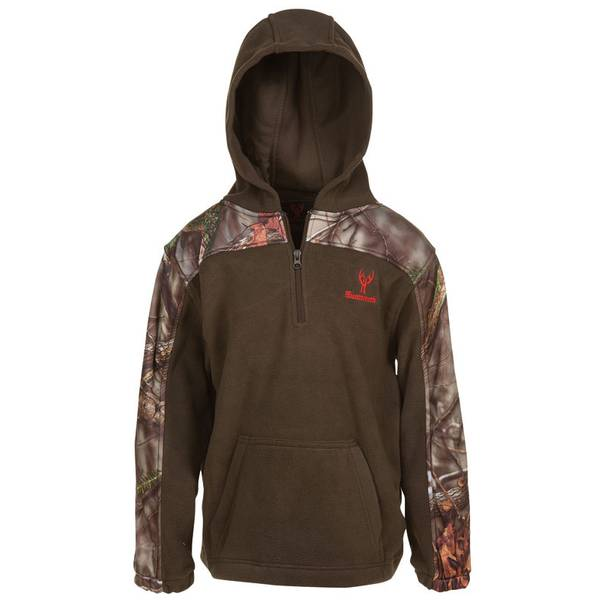 Boys' Oak Tree Camouflage & Brown Fleece 1/4 Zip Hoodie