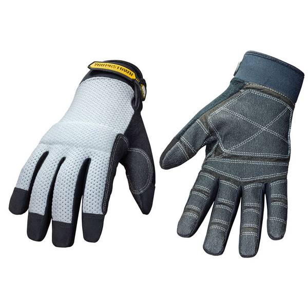 Men's Gray and Black Mesh Utility Plus Gloves