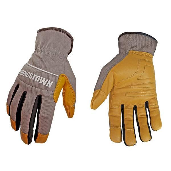 Men's Gray and Tan Hybrid Plus Gloves