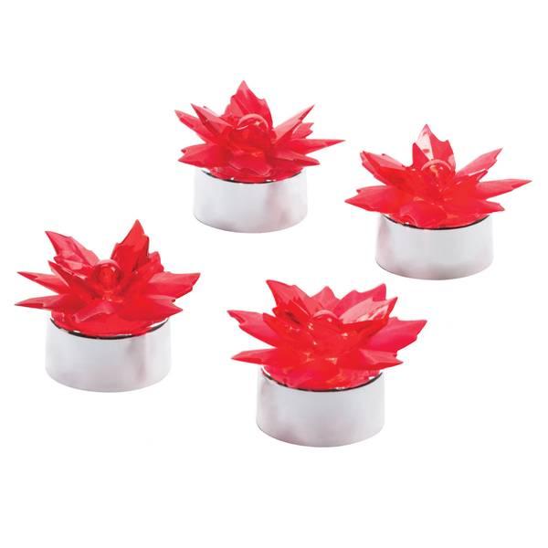 4-Pack Poinsettia Place Card Holder Tea Lights