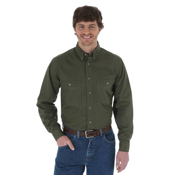 Men's Wrinkle Resist Solid Long Sleeve Shirt