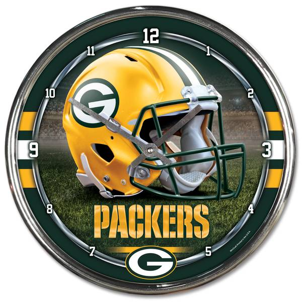 Green Bay Packers Round Chrome Clock