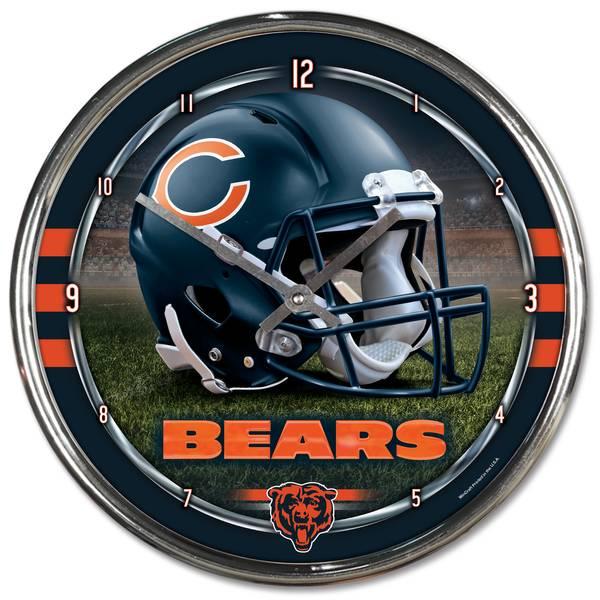 Chicago Bears Home Decor: NFL Chicago Bears Round Chrome Clock