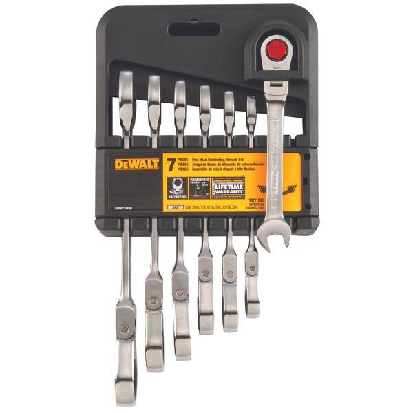 SAE 7 Piece Flex Head Combo Ratcheting Wrench Set