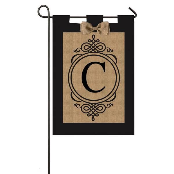 Burlap Monogram Garden Flag